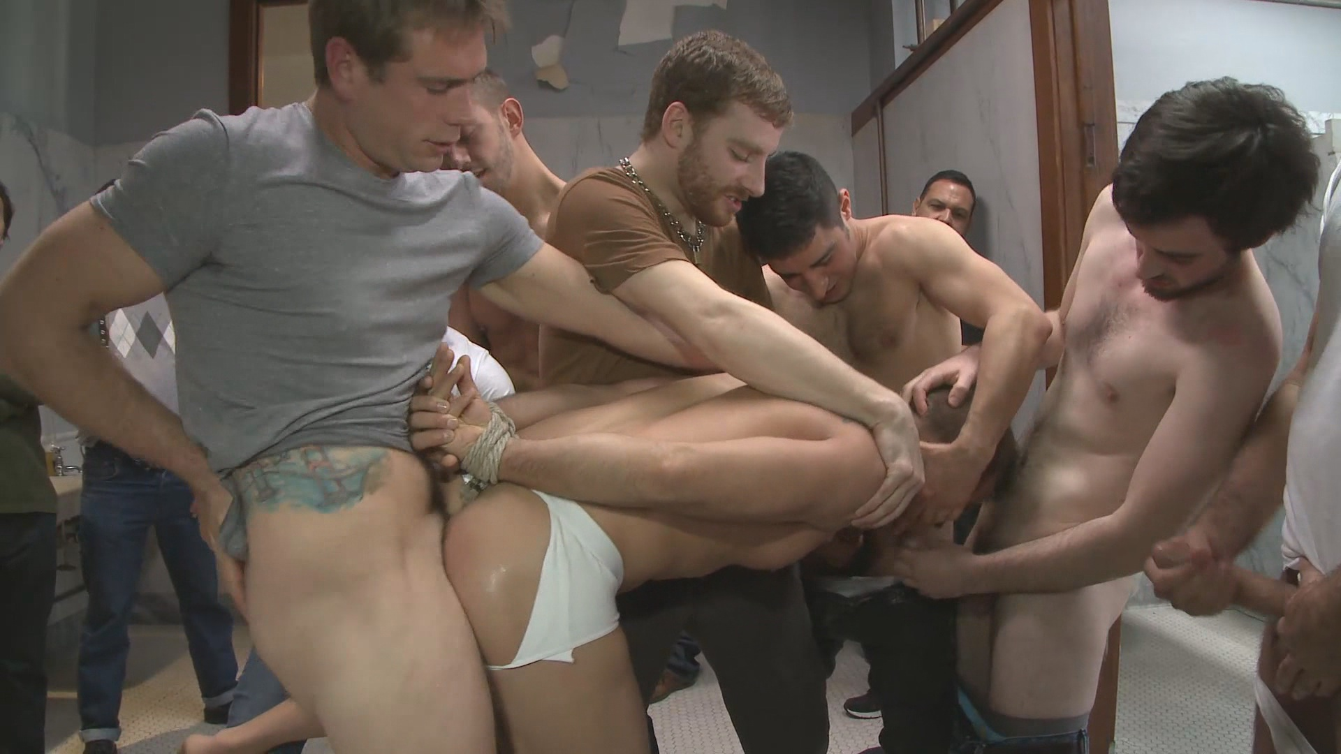 Bound In Public: Straight Stud Gets Gang Fucked In A Crowded Cruising Bathroom Xvideo gay